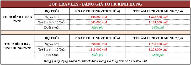 Bảng giá tour Bình Hưng