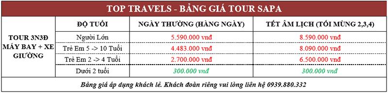 Bảng giá tour Sapa