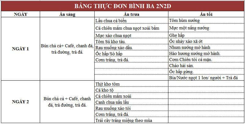 Bảng thực đơn tour Bình Ba 2 ngày 2 đêm