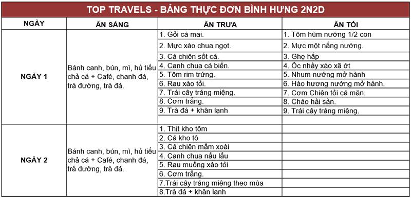 Bảng thực đơn tour Bình Hưng