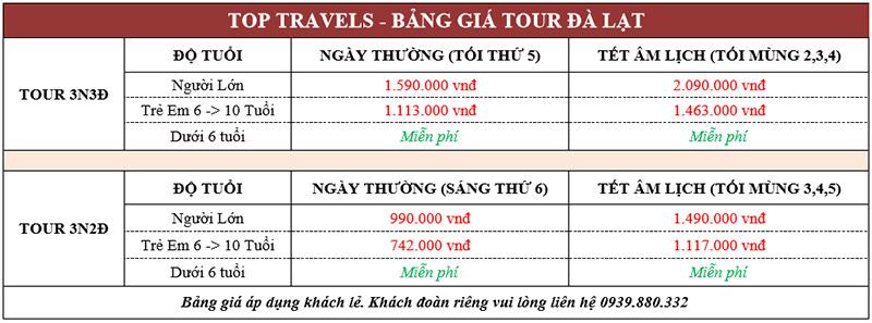Bảng giá tour Đà Lạt
